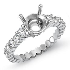 0.70 Ct Round Diamond 10 Stone Engagement Semi Mount Ring Setting 14k White Gold