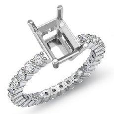 0.80 Ct Diamond Solitaire Emerald Semi Mount Prong Setting Ring 14K White Gold