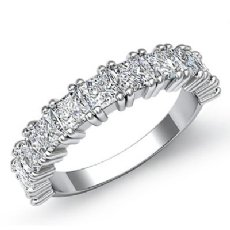 Duet Prong Princess Diamond Half Wedding Band 14k White Gold Women's Ring 2Ct