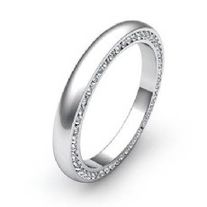Round Diamond Men's Eternity Wedding 3mm Band Dome Pave Sets 14k White Gold 1Ct