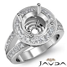Halo Pre-Set Diamond Engagement Ring Round Cut Semi Mount 14K White Gold 0.67Ct