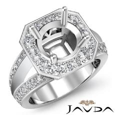 Diamond Engagement Ring 14K White Gold Halo Pave Setting Round Semi Mount 0.66Ct