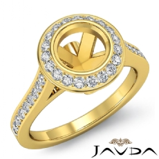 Halo Pave Setting Diamond Engagement Ring 14k Gold Yellow Round Semi Mount  (0.47Ct. tw.)