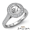 Halo Pave Setting Diamond Engagement Ring 14k White Gold Round Semi Mount 0.47Ct - javda.com