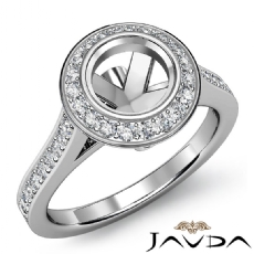 Halo Pave Setting Diamond Engagement Ring 14k White Gold Round Semi Mount 0.47Ct