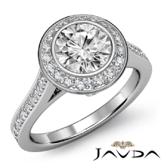 Halo Bezel Set Sidestone Round diamond engagement Ring in 14k Gold White