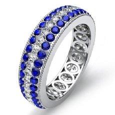 Women's Wedding Eternity Band 14k W Gold 3Row Round Sapphire Diamond Ring 2.5Ct