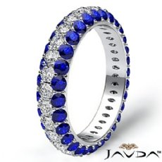 Round Pave Sapphire Diamond Engagement Women Eternity Ring 14k White Gold 2.64Ct