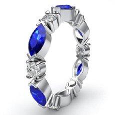 Marquise Round Sapphire Diamond Eternity Women's Band 14k White Gold Ring 1.6Ct