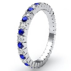 Sapphire Diamond Italian Prong Set Eternity Women's Band 14k W Gold Ring 0.70Ct