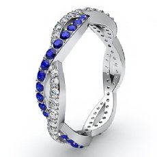 Women's Eternity Wedding Band Sapphire Pave Diamond Ring 14k White Gold 0.7Ct