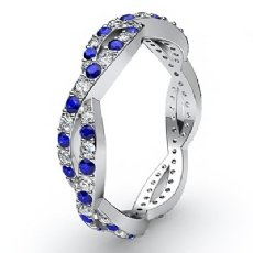 Round Sapphire Pave Diamond Eternity Wedding Band Women's Ring 14k W Gold 0.8Ct