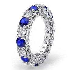 Heart Eternity Wedding Ring 14k White Gold Sapphire Diamond Women's Band 4Ct