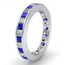 Princess Channel Set Sapphire Diamond Eternity Band Women Ring 14k W Gold 1.7Ct