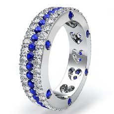 Women's Eternity Wedding Band 14k WGold 3 Row Round Sapphire Diamond Ring 3.6Ct