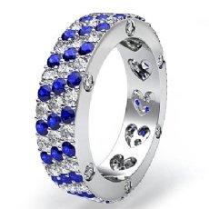 3 Row Sapphire Diamond Women's Eternity Pave Wedding Band Ring 14k W Gold 3.6Ct