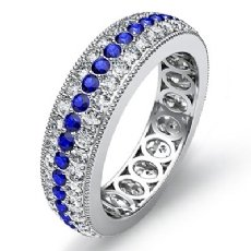 3Row Sapphire Diamond Women's Wedding Eternity Band 14k White Gold Ring 2.4Ct