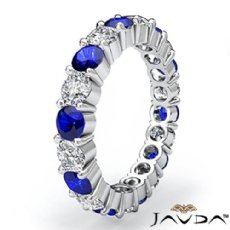 Sapphire Prong Diamond Eternity Wedding Band 14k White Gold Women's Ring 2.4Ct
