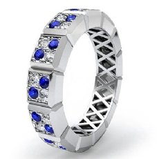 Round Sapphire Diamond 14k White Gold Women's Eternity Wedding Band Ring 0.7Ct