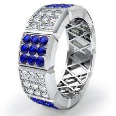 Sapphire Diamond Women's Eternity Wedding Band 14k White Gold Solid Ring 2.2Ct