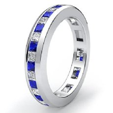 Blue Sapphire Channel Diamond Wedding Ring Eternity Women Band 14k W Gold 1.3Ct