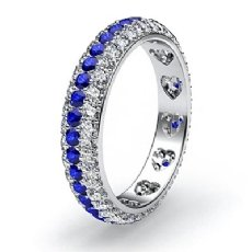 Women's Eternity Wedding Band 14k W Gold Blue Sapphire Round Diamond Ring 1.5Ct