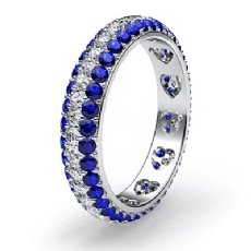 Women's Heart Eternity Wedding Band Round Sapphire Diamond Ring 14k WGold 1.5Ct