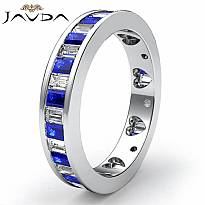 Baguette Sapphire Diamond Womens Wedding Ring Eternity Band 14k White Gold 2.4Ct