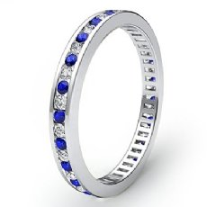 Blue Sapphire Channel Set Diamond Women Eternity Band Ring 14k White Gold 0.6Ct