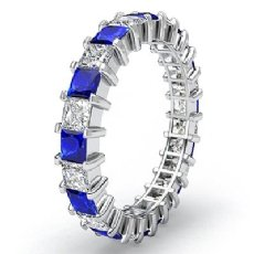 Women Eternity Wedding Band 14k White Gold Princess Sapphire Diamond Ring 2.9Ct