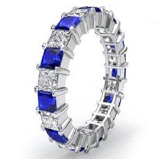 Princess Sapphire Diamond Eternity Wedding Band Women's Ring 14k White Gold 4Ct