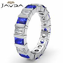 Baguette Sapphire Diamond Wedding Womens Ring Eternity Band 14k White Gold 3Ct