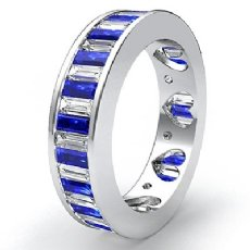 Sapphire Baguette Diamond Women Eternity Wedding Band 14k White Gold Ring 3.4Ct