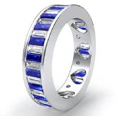 Sapphire Baguette Diamond Women Eternity Wedding Band 14k White Gold Ring 3.4Ct