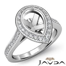 Pear Semi Mount Diamond Engagement Ring 14k White Gold Halo Pave Setting 0.55Ct