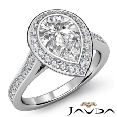 Bezel Set Sidestone Halo Pear diamond engagement Ring in 14k Gold White
