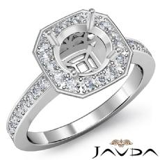 Halo Pave Setting Diamond Engagement Round Semi Mount Ring 14k White Gold 0.37Ct