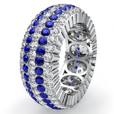 Round Pave Sapphire Diamond Eternity Women Solid Ring Band 14k White Gold 3.6Ct