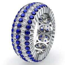Women Eternity Engagement Band 14k White Gold Round Sapphire Diamond Ring 3.8Ct