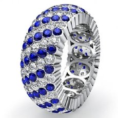 Blue Sapphire Pave Diamond Eternity Womens Solid Ring Band 14k White Gold 3.7Ct
