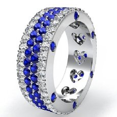 Women's Round Sapphire Diamond Band Heart Eternity Ring 14k White Gold 4.8Ct