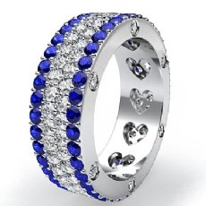 Women's Wedding Ring Eternity Round Sapphire Diamond Band 14k White Gold 4.7Ct