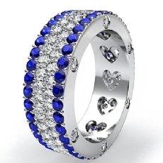 Women's Wedding Ring Eternity Round Sapphire Diamond Band 14k White Gold 4.7Ct