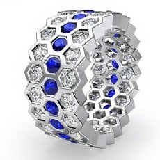 Round Sapphire Bezel Diamond Eternity Ring Wedding Band 14k White Gold 3.5Ct
