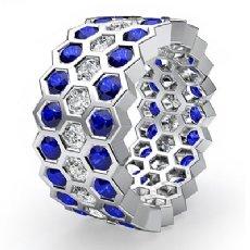 Round Sapphire Bezel Diamond Eternity Ring Wedding Band 14k White Gold 3.7Ct