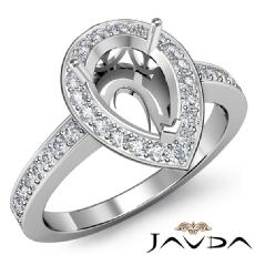 Halo Pre-Set Diamond Engagement Ring Pear Semi Mount 14k White Gold 0.39Ct