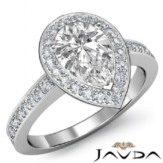Sidestone Filigree Halo Pave Pear diamond engagement Ring in 14k Gold White