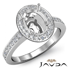 Oval Semi Mount Diamond Engagement Ring 14k White Gold Halo Pave Setting 0.36Ct