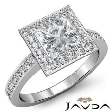 Filigree Design Halo Pave Princess diamond engagement Ring in 14k Gold White