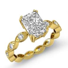 Milgrain Edge Eternity Prong diamond Ring 14k Gold Yellow